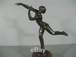 Naked Dancer Sculpture Old Style Art Deco Bronze Signed Fanny Rozet