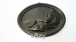 Naked Woman Ancient Sculpture Medallion Elegant Bronze Erotic Art Nouveau