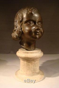 Old Pretty Bust Sculpture Bronze Little Girl Child Epoque 1930 Art Deco