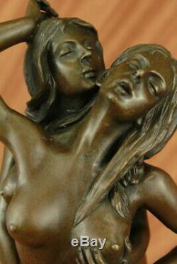 Original Mavchi Sweet Erotic Nothing Lesbian Lovers Art Bronze Statue Sculpture