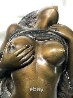 Pair Original Art Deco 1930's French Bronze Erotic Sexy Nu Femme Sculptures