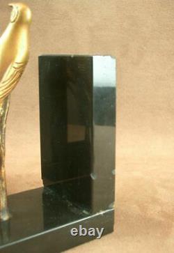 Paire De Serre Book Sculpture Art Deco En Bronze Birds Signed I. Rochard