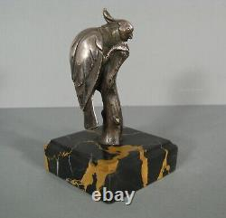 Parrot Silver Bronze Animal Sculpture Ancient Art Deco Signed Charles