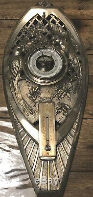 Parrots Sculpture Bronze Barometer / Thermo Art Nouveau (not Susse)
