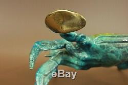 Patina Art Deco Blue Crab Lobster 100% Solid Bronze Sculpture Figurine