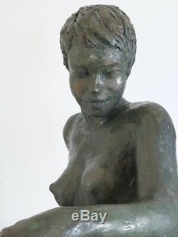 Paula Statue Terracotta Sculpture Bronze Green Nude Color / 28, L / 31, P / 21