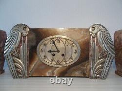 Pendule Art Deco Marble Ornament Silver Bronze Parrot Sculpture Bird