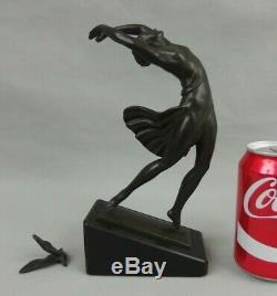 Pierre The Faguays Fayral Sculpture Regulates Patina Bronze Dancer Art Deco