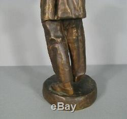 Pierrot Ancient Sculpture Bronze Signed Lensa / Commedia Dell'arte Pierrot Statue