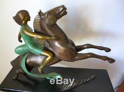 Rare Bronze Art Deco Sculpture 1930 Amazone (attributed To) Lemoine
