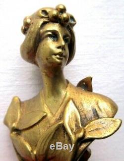 Rare Bronze Sculpture Art Nouveau Jugendstil, Seal Sealing Woman Mistletoe