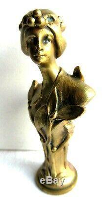 Rare Bronze Sculpture Art Nouveau Jugendstil, Seal Stamp Woman With Mistletoe