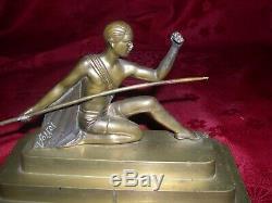 Rare Bronze Sculpture Deco Era Voltas Representative Signed A Warrior Art