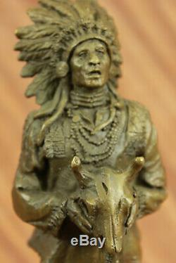 Rare Indian Art In America Chief Beef Head Bronze Statue Marble Sculpture Nr