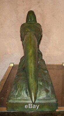 Rare Sculpture Art Deco 1930 Pheasant Signed R. Pollin Terracotta Bronze Patina Earth