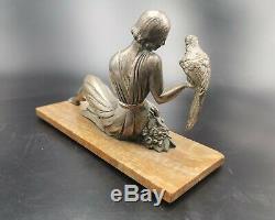 Rare Sculpture Art Deco Bronze Woman Pheasants The Dlg Chiparus Pheasant Woman