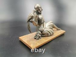 Rare Sculpture Bronze Art Deco Woman At Faisans Dlg Chiparus Pheasant Woman