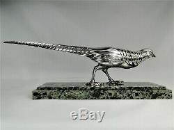Rare Statue Bronze Argente Art Deco Pheasant Sculpture By Marcel Bouraine Orig