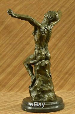 Rodin Bronze Age Elegant Male Nude Rare Bronze Marble Statue Sculpture Art