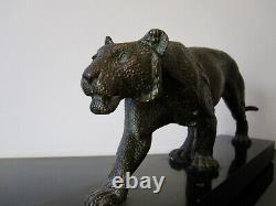 Rulas Animal Sculpture Art Deco Bronze Patina. Panther