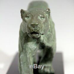 Rulas Sculptor Panther Art Deco Bronze Signed