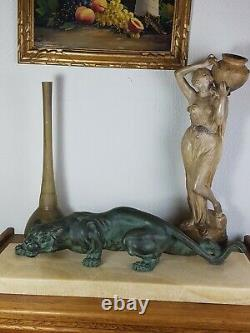 S. Melani (1902-1934) Lion On The Lookout Bronze Art-deco Signed 29 KG Very Good Condition