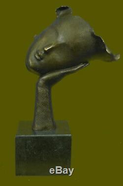 Salvador Dali Modern Art Resting Girl Bronze Bust Statue Sculpture Figurine