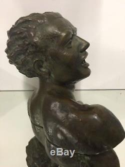 Salvator Riolo Bust Bronze Sculpture Jean Mermoz Art Deco Design Cipriani