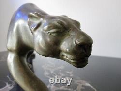 Salvatore Melani Art Deco Animal Sculpture In Bronze. Panther