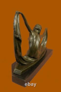 Scarf Dancer Pure Bronze Art Deco Signed Mirval Marble Statue