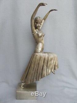 Sculpture 60cm Silvered Bronze Statue Woman Dancer Art Deco Style Chiparus