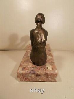 Sculpture Art Deco 1930 Limousin Woman Statuette In Regule Woman Bronze Color