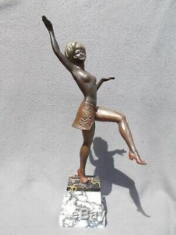 Sculpture Art Deco 30s Limousin Statue Woman Oriental Dancer Bronze Regule