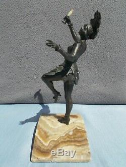 Sculpture Art Deco 30s Woman Cabaret Dancer Statue Regulates Bronze