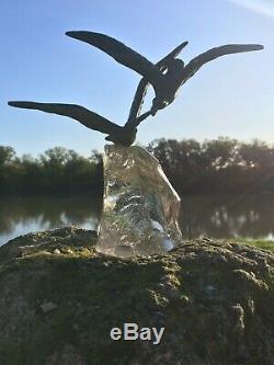 Sculpture Art Deco Bronze Glass Birds Sign Chatil