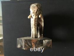 Sculpture Art Deco Elephant Bronze Patina Argentee Signee Marcel Andre Bouraine
