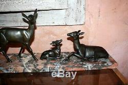 Sculpture Art Deco Irenée Rochard Biches Fawn Regule Patina Bronze