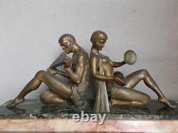 Sculpture Art Deco Limousin Naked Woman Man Wildlife Statue In Regulated Bronze Patina