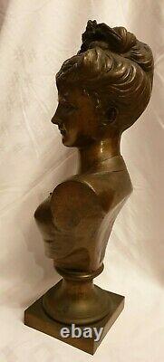 Sculpture, Bronze, Bust Woman, Art Nouveau, Pedestal Sign Tiffany-co