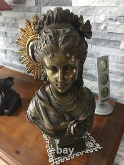 Sculpture, Bronze, Bust Woman, Art Nouveau, Top 35 CM Around