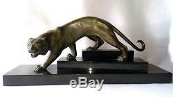 Sculpture Bronze Tiger Signed George Lavroff (1895-1991) Era Art Deco