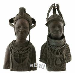 Sculpture Bust Oba Royal Couple Bini Edo Nigeria Bronze 44cm 16956 African Art
