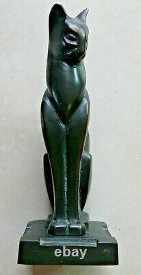 Sculpture Chat Assis Bronze Art Deco 20cm Martel Bequerel Csaky