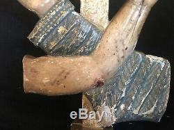 Sculpture Cross Sacred Art Hand & Arm Crusaders Wood Polychrome XIX Century