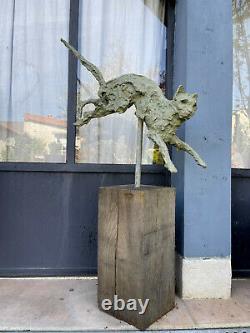 Sculpture Feline (the Cat) In Bronze Font Brutalist Art From 1 M De H