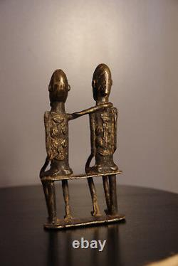 Sculpture Figurine Priomordial Couple In Bronze Dogon Art First African Mali
