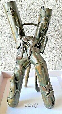 Sculpture In Bronze Double Vase Era Art Nouveau