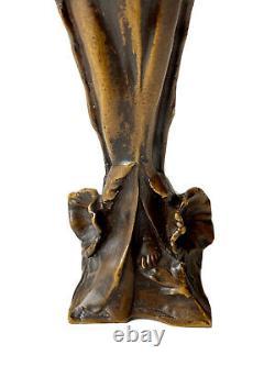 Sculpture In Bronze Woman Bignones Flowers Art Nouveau Jugendstil Epoque Xxème