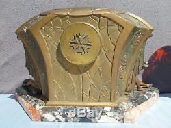 Sculpture Light Pendulum Clock Art Deco Limousin Statue Woman Bronze Regule