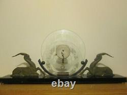 Sculpture Pendulum Gazelle Art Deco 1930 Orientalist Marble Black Belgium Bronze